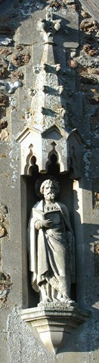 Statue of St Peter, outside wall of the vestry